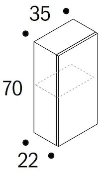 PENSILE LIMOGES 1 ANTA PUSH & PULL L 35 P 22 H 70 CEMENTO GRG codice prod: DSV16628 product photo Foto1 L2