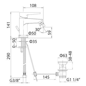 LOGOS+ 5501 MISCELATORE BIDET CROMATO codice prod: 5501.0000.L051 product photo Foto1 L2