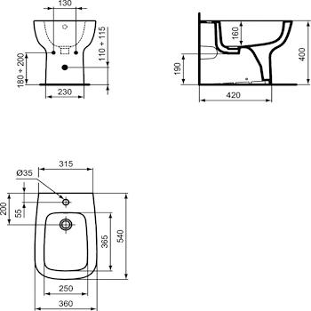 ESEDRA BIDET F/P 1FORO BIANCO FILO PARETE codice prod: T281301 product photo Foto1 L2