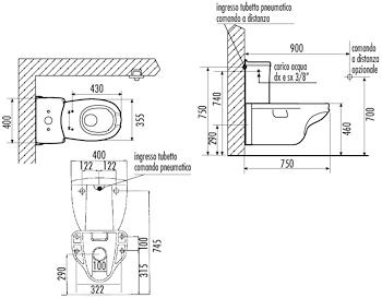 FULL WC APERTURA FRONTALE BIANCO MONOBLOCCO CON CASSET TA codice prod: DSV16580 product photo Foto1 L2