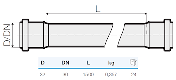 TRISTORM TUBO 2B D.32 L.1500 codice prod: DSV12520 product photo Foto1 L2