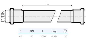 TRISTORM TUBO 2B D.40 L.1000 codice prod: IT00051 product photo Foto1 L2