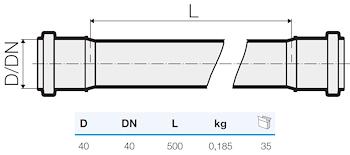 TRISTORM TUBO 2B D.40 L.500 codice prod: IT00050 product photo Foto1 L2