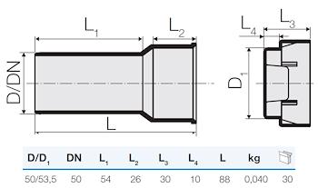 TRISTORM RACC.DIR. D.50-53,5 +TAPPO codice prod: IT00195 product photo Foto1 L2