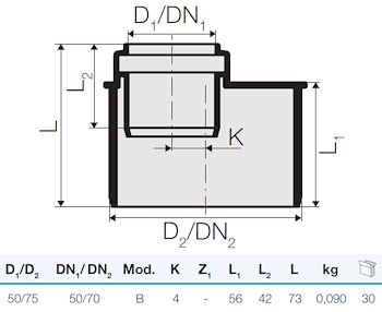 TRISTORM RIDUZIONE ECC.D.75/50 codice prod: IT00148 product photo Foto1 L2