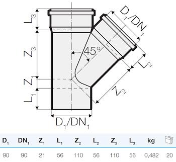 TRISTORM BRAGA D. 90/90 45° codice prod: IT00201 product photo Foto1 L2