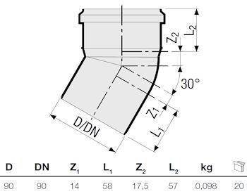 CURVA HTB 30° DIAM. 90 codice prod: DSV09342 product photo Foto1 L2