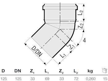 P.P. CURVA 45° DIAM. 125 codice prod: DSV00885 product photo Foto1 L2