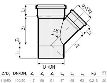 P.P. DERIV. RID. 45° DIAM. 110/50 codice prod: DSV00932 product photo Foto1 L2