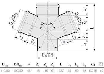 P.P.DERIV. DOPPIA 45° RID. D.110/50 codice prod: DSV00921 product photo Foto1 L2