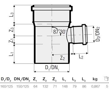 P.P. DERIV. RID. 87° DIAM. 160/125 codice prod: DSV00952 product photo Foto1 L2