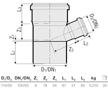 P.P. DERIV. RID. 67° DIAM. 110/50 codice prod: DSV00933 product photo Foto1 L2