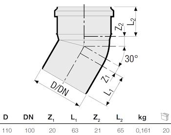P.P. CURVA 30° DIAM. 110 codice prod: DSV00878 product photo Foto1 L2
