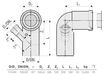 P.P. CURVA WC PROLUNGATA D.110 C/A. codice prod: DSV01059 product photo Foto1 L2