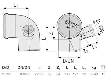 P.P. CURVA 87 DIAM.110 C/ATT.SX 40 GR. codice prod: DSV01053 product photo Foto1 L2