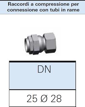 RACCORDO A COMPRESSIONE GAS DN25 PER CONNESSIONE TUBI RAME 28X1 codice prod: DSV16319 product photo Foto1 L2