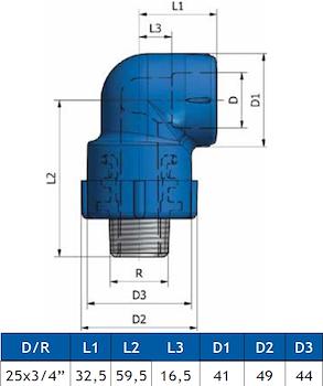 GOMITO A 90 FIL.MAS. K21 D.25X3/4 codice prod: DSV02143 product photo Foto1 L2