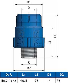 """GIUNTO FILETT. MASCHIO K11 D.50X1""""1 codice prod: DSV02049 product photo Foto1 L2"""