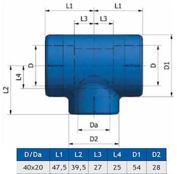 RACC. A 'T' RIDOTTO K35 D.40X20X40 codice prod: DSV02185 product photo Foto1 L2