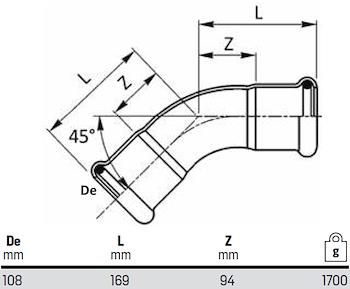 CURVE 45' FF D. 108 codice prod: DSV08238 product photo Foto1 L2