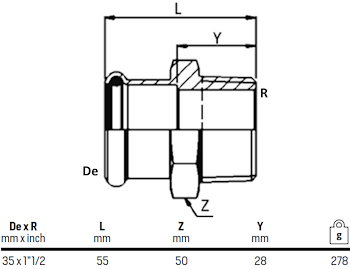 "MANICOTTO MISTO C/FIL. MASC.D. 35X1""1/2 codice prod: DSV07641 product photo Foto1 L2"