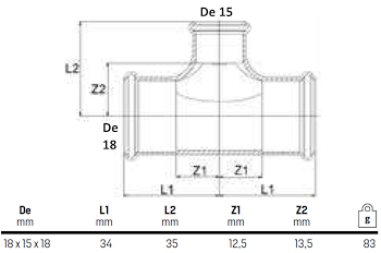 TEE RIDOTTO 18X15X18 codice prod: DSV08427 product photo Foto1 L2