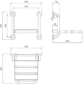 SEDILE RIBALTABILE PER DOCCIA INOX SATINATO codice prod: DSV16180 product photo Foto1 L2