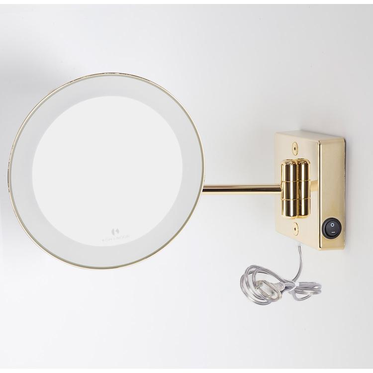 DISCOLO LED C36/1G2 SPECCHIO INGRANDITORE X2 TONDO DA PARETE ORO Ø23.1 BRACCIO ILLUMINAZIONE A LED codice prod: C36/1G2 product photo
