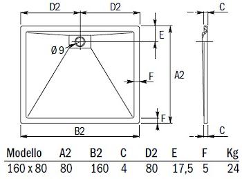PIATTO DOCCIA PLANE STORM RETT.160X80 codice prod: DSV15867 product photo Foto1 L2
