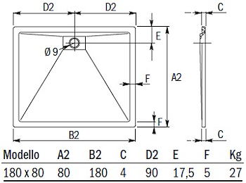 PIATTO DOCCIA PLANE STORM RETT.180X80 codice prod: DSV15869 product photo Foto1 L2