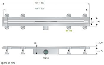 SET GRIGLIA INOX,RITAGLIABILE SU MISURA L.400-800 MM X SC.DOCCIA A PAVIM. codice prod: DSV17117 product photo Foto1 L2