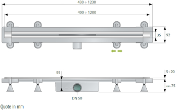 SET GRIGLIA INOX,RITAGLIABILE SU MISURA L.400-1200MM X SC.DOCCIA A PAVIM. codice prod: DSV17118 product photo Foto1 L2