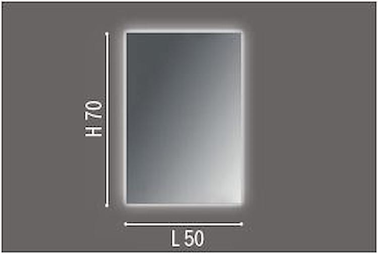 SPECCHIERA SU PANNELLO RETROILLUM.A LED 4 LATI W 13 L50X H70 X P3 SENZA INTERR. codice prod: DSV17589 product photo