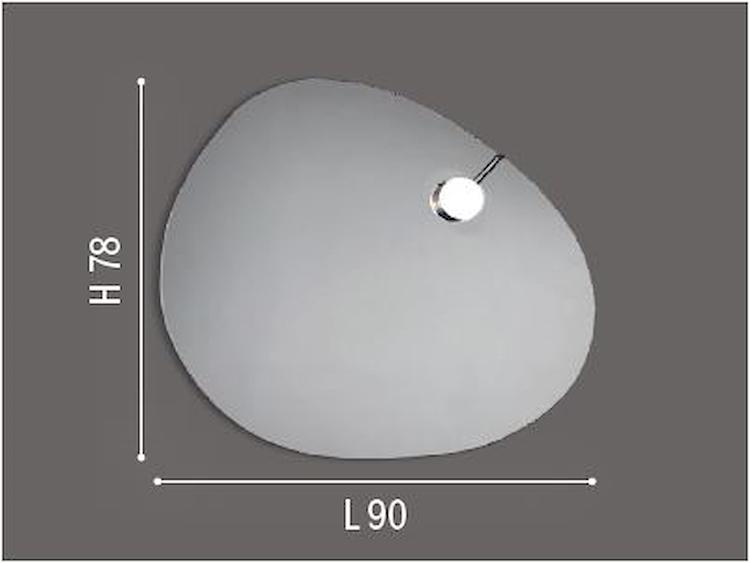 SPECCHIERA SEMPLICE MOD.SASSO C/FARETTO MAGNETICO W3,6 L90 X H78 X P2,6 C/INTERR codice prod: DSV17597 product photo