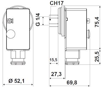 """PRESSOSTATO DI MINIMA A RIARMO MANUALE ATTACCO G1/4"""" CAMPO SCALA DA 0,5/2,5 BAR codice prod: DSV16981 product photo Foto1 L2"""
