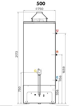 SCALDABAGNO GAS ACCUMULO BASAM.LT.500 BASSO NOX codice prod: DSV16940 product photo Foto1 L2