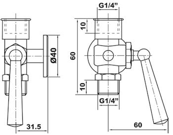 """RUBINETTO PORTAMANOMETRO CON FLANGIA D. 40 PN 16 1/4"""" MF codice prod: DSV17494 product photo Foto1 L2"""