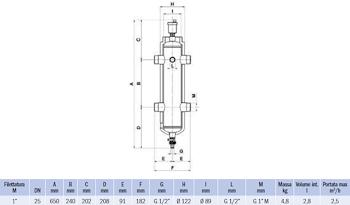 """SEPARATORE IDRAULICO FILETTATO G 1"""" NON MAGNETICO codice prod: DSV17827 product photo Foto1 L2"""