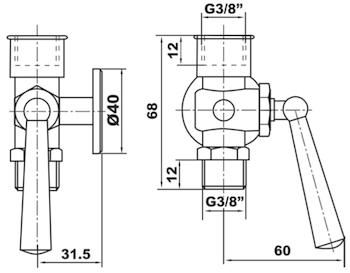 """RUBINETTO PORTAMANOMETRO CON FLANGIA D. 40 PN 16 3/8"""" MF codice prod: DSV17495 product photo Foto1 L2"""