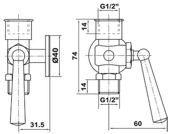 """RUBINETTO PORTAMANOMETRO CON FLANGIA D. 40 PN 16 1/2"""" MF codice prod: DSV17496 product photo Foto1 L2"""