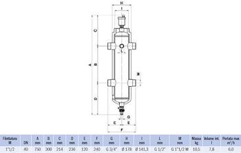 """SEPARATORE IDRAULICO FILETTATO G 1""""1/2 NON MAGNETICO codice prod: DSV17829 product photo Foto1 L2"""