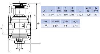 """DISAERATORE FILETTATO G 1""""1/4 IN OTTONE CON COIBENTAZIONE codice prod: DSV17836 product photo Foto1 L2"""
