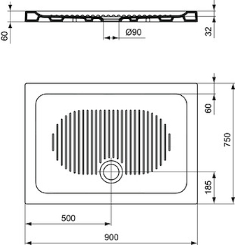 CONNECT PIATTO DOCCIA CERAMICA 90X75 BEU codice prod: T267201 product photo Foto1 L2