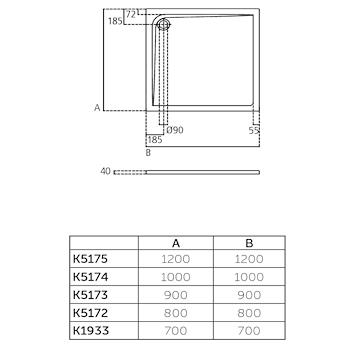 ULTRA FLAT PIATTO DOCCIA ACRILICO 70X70 BEU codice prod: K193301 product photo Foto1 L2