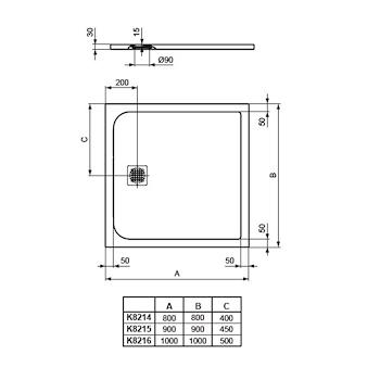 ULTRA FLAT PIATTO DOCCIA 100X100 BIANCO codice prod: K8216FR product photo Foto1 L2