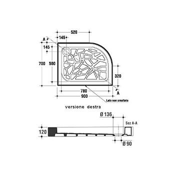Angolare sinistro Piatto doccia pil.90 90x70 bianco europeo codice prod: T101101 product photo Foto1 L2