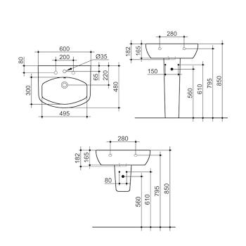 MIA Lavabo 1 3 fori 60x48 bianco GARANZIA EUROPEA 2 ANNI codice prod: J436700 product photo Foto1 L2
