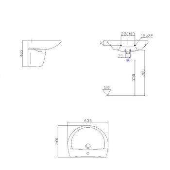 OPERA DE LUXE lavabo 635x520 sospeso codice prod: BCDEL3 0000 product photo Foto1 L2
