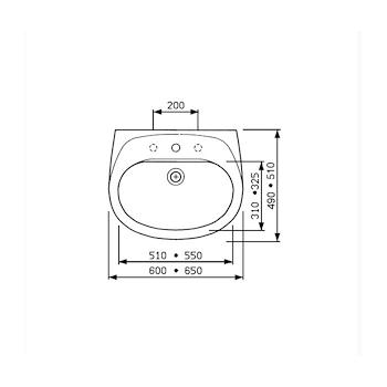 GARDA lavabo 60x49 bianco codice prod: J090500 product photo Foto1 L2