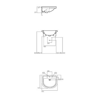 CALLA Lavabo semincasso 3 fori bianco europeo 63x55 codice prod: T097701 product photo Foto1 L2